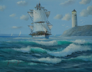 Joseph Glass Pigeon Point Lighthouse seascape oil on canvas tall ship sailing ship waves