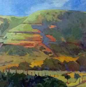 Leslie Hurst The Velvet Hills oil painting plein air painting Sierra foothills vineyard