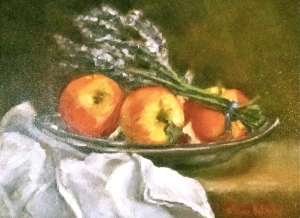 Carolyn Prince Batchelor oil painting still life apples and lavender
