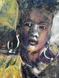 Sherie Drake portrait woman of color earrings, impressionism