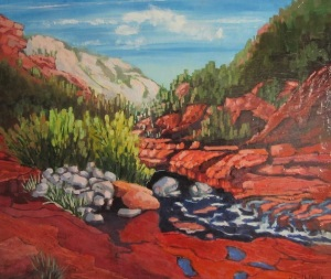 Michael Dwaileebe Sedona AZ landscape impressionist gully rocks trees