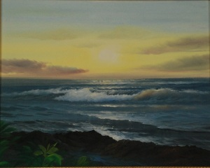 Joseph Glass Tropical Sunset seascape oil on canvas framed
