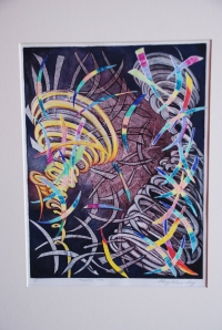 Stacy Hay Twisted Fate, monoprint, abstract art, contemporary art