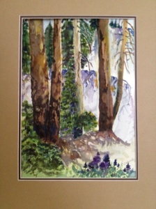Dorothy Babinsky Trees watercolor with mixed media